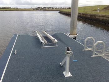pontoon roller system, winch and ladder